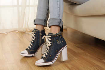 Vintage Dark Blue Women Denim Pumps Round Toe Square High Heels Lace Up Platform Ladies Espadrilles Fashion Studded Valentines