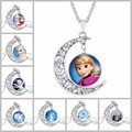 The Snow Queen vintage european style cartoon Anna princess Moon time gems pendant necklace girls dreamlike christmas gift N0349