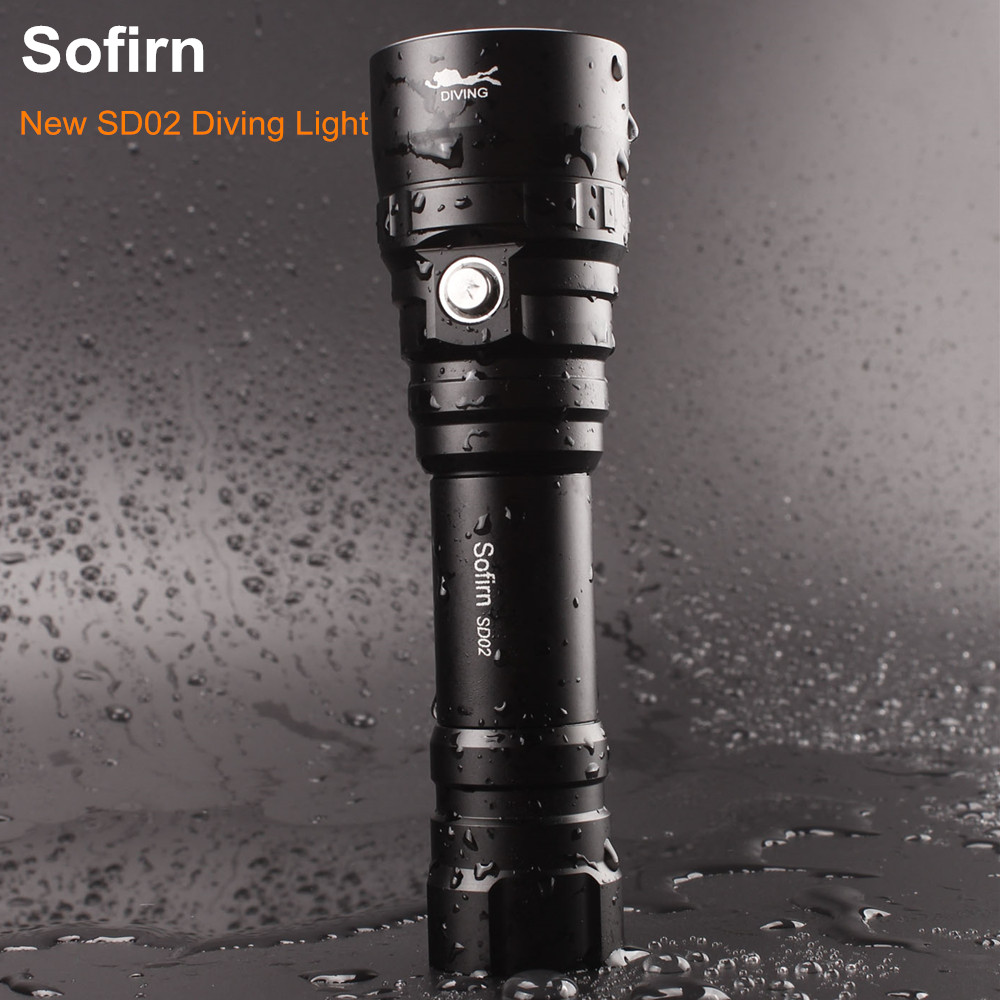 Sofirn SD02 Professional Scuba Diving Flashlight 18650 Powerful Dive Light Cree XPL 1050lm LED Lamp Underwater Searchlight Torch Ручной фонарь