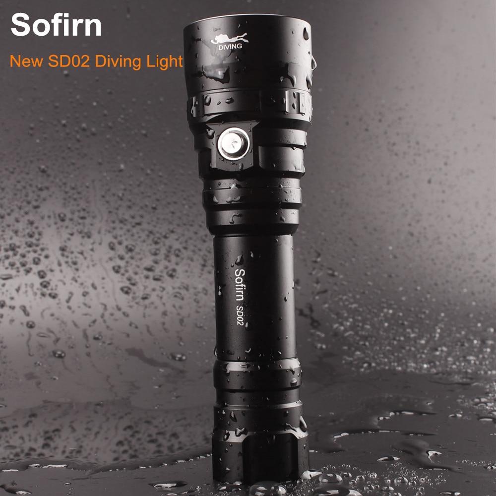 Sofirn SD02 Профессиональный Дайвинг фонарик 18650 мощный Dive света Cree XPL 1050lm светодио дный лампы Подводные прожектор факел