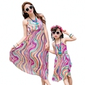 Mother daughter dresses fashion summer kids Girls Dress Family Matching Outfits rainbow striped women girl long vest dress