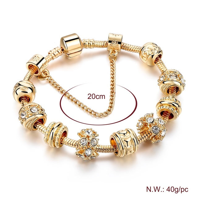 Gold Crystal Bracelets For Women Heart Charm Bracelets &Bangles With Crystal Beads DIY Jewellery