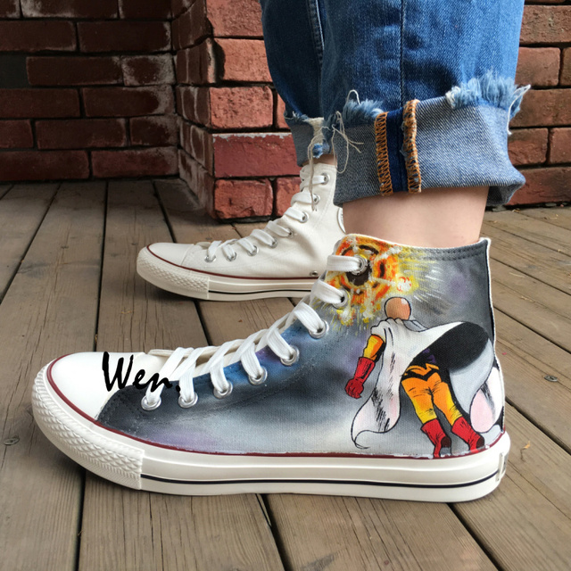 Wen Design Custom Hand Painted Shoes One Punch Man Anime Shoes Woman Man s  High Top Canvas 899aa6860