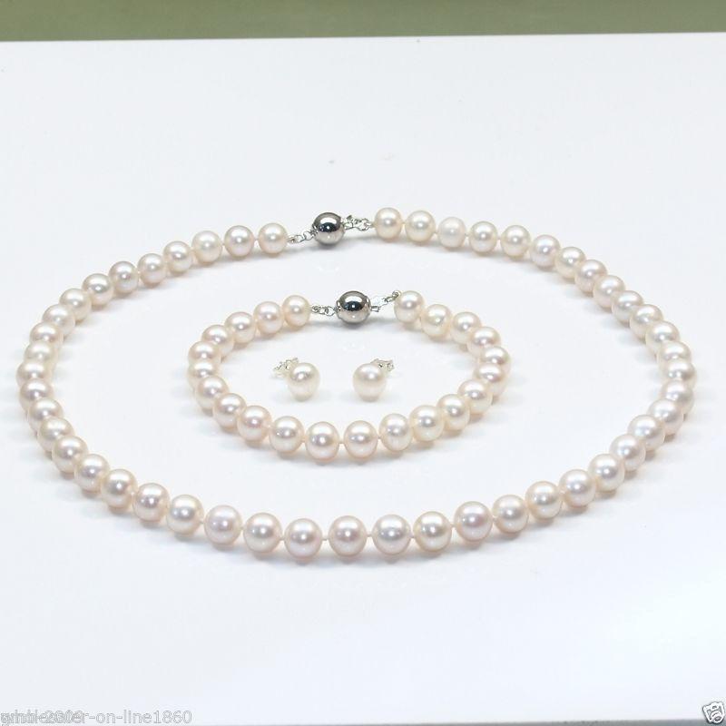 Livraison Gratuite>>>>> 8-9mm naturel du sud mer blanc perle collier bracelet boucles d'oreilles