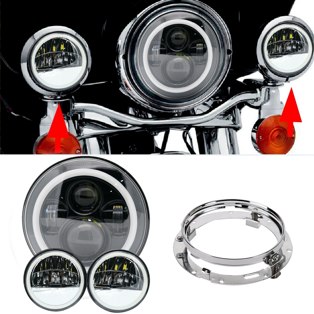 7 Motorcycle LED Headlight white DRL, Mounting brackets&4.5 Fog Lights For Harley Road King Street Glide Touring Electra Glide 7 inch led headlight motorbike suit 7headlight monting ring fog lights for harley davidson electra glide road king street glide