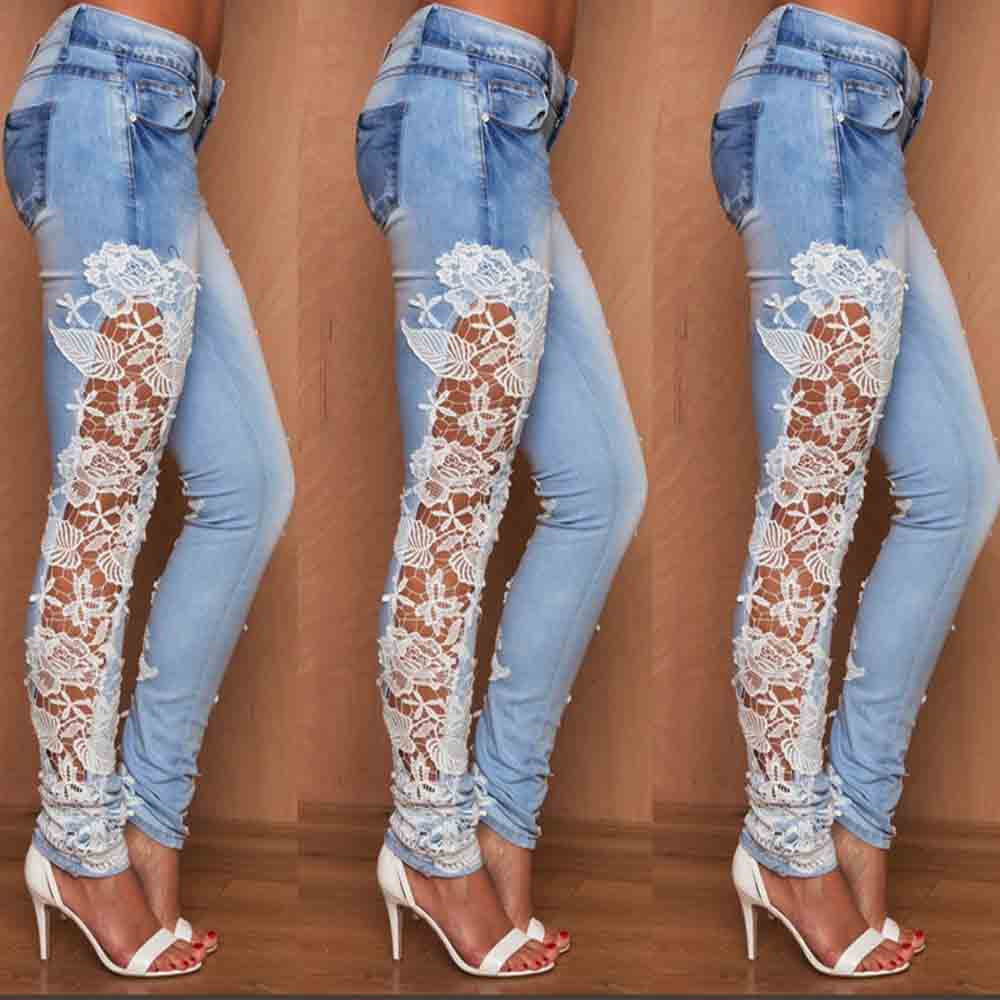 Women Printing Lace Skinny Pencil Denim   Jeans   Stretch Slim Fitness Pants Sexy Casual Skinny 2019 Spring Fashion