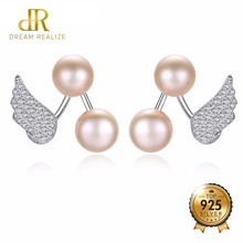 DR Brand Trendy S925 Jewelry Double Natural Pearls Earrings Angle Wing 925 Sterling Silver Pearl Stud Earrings for Women Party недорого
