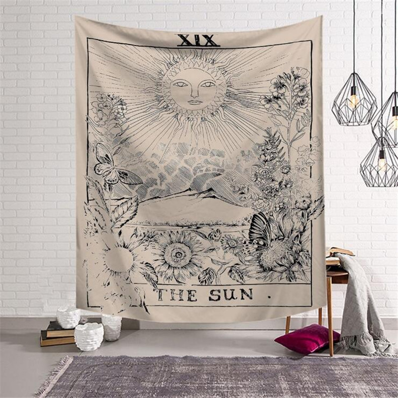 Tarot Hanging Sun Star Moon Tapestry Hippie Wall Hanging Blanket Wall Carpet Yoga Mat Home Decor Tapestry w3-new-LS-TLP(China)