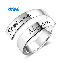 Senfai Romantic Custom Names Date Rings Special Anniversary Gift for Sister Friends Gold Color Ring Personalized Jewelry