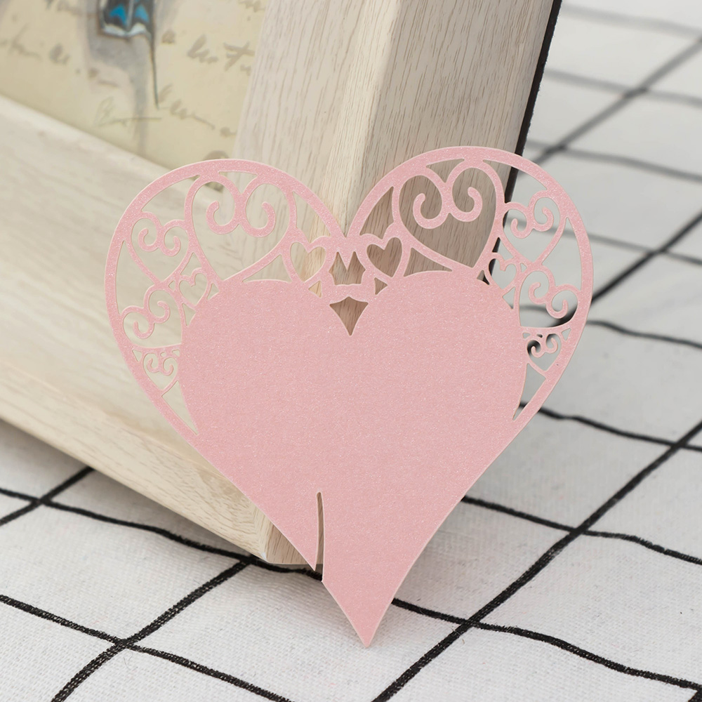 2017 NEW 50Pcs/set Love Heart Wine Glass Card Cup Card Table Mark ...