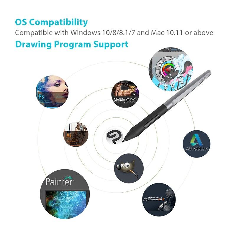 Huion H610 PRO V2 tablettes graphiques numériques artiste Designer tablette de dessin fonction d'inclinaison tablettes stylo sans batterie pour Win et Mac - 4