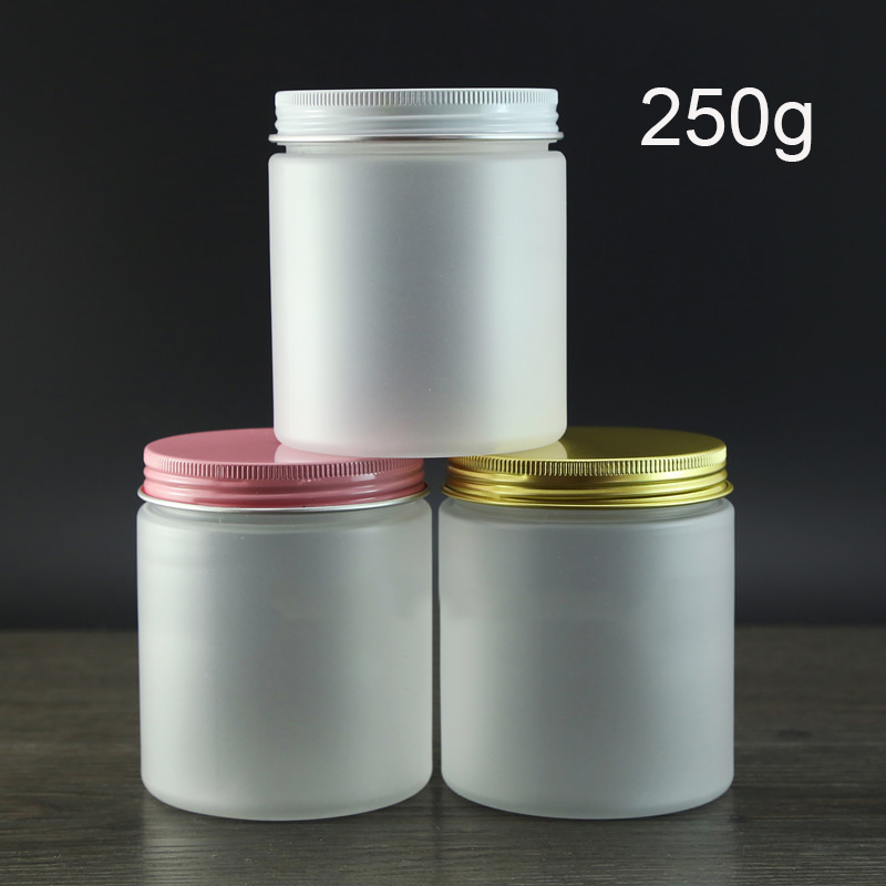 250g Frosted Plastic Cosmetic Cream Jar Refillable Empty Body Lotion Bottle Facial Mask Packaging Containers Many colors