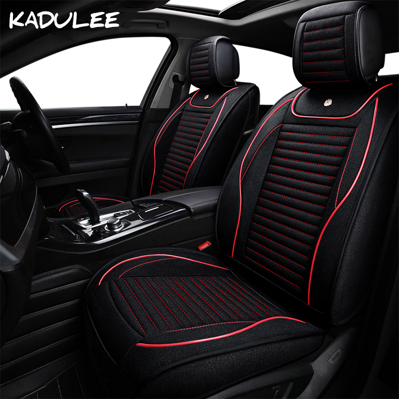 KADULEE Flax Universal Auto Car Seat Cover For Mitsubishi Lancer 10 Asx Pajero 4 2 Outlander Xl Car Accessories Seat Covers