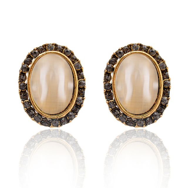 Womens Cats Eye Crystal Stones Oval Fashion Prom Earrings Online Shaped Stud Evening