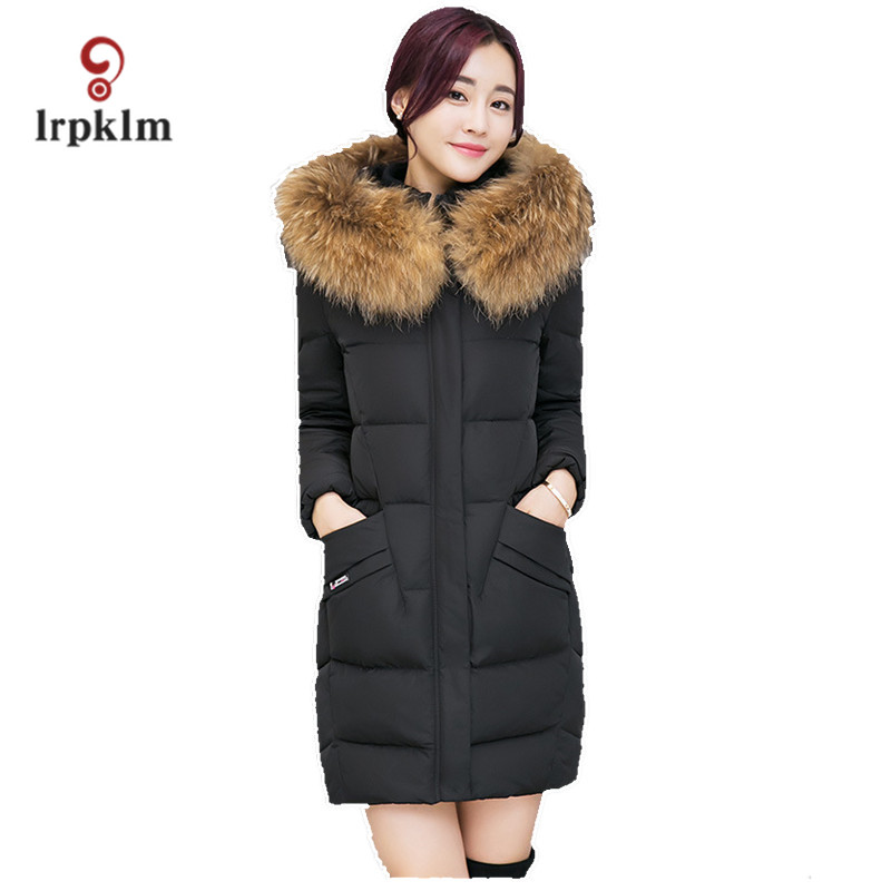 Brand Women  Winter Coats 2017 Big New Cotton Artificial Fox Fur Detachable Fur Collar Fashion Hooded Female Winter Coat WM338 2017 winter new clothes to overcome the coat of women in the long reed rabbit hair fur fur coat fox raccoon fur collar
