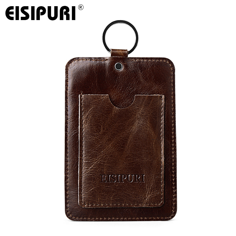 EISIPURI Brand Genuine Leather Wallet Men Oil Wax Leather Card Holders Male Vintage Small Card Purse Man Cluthes