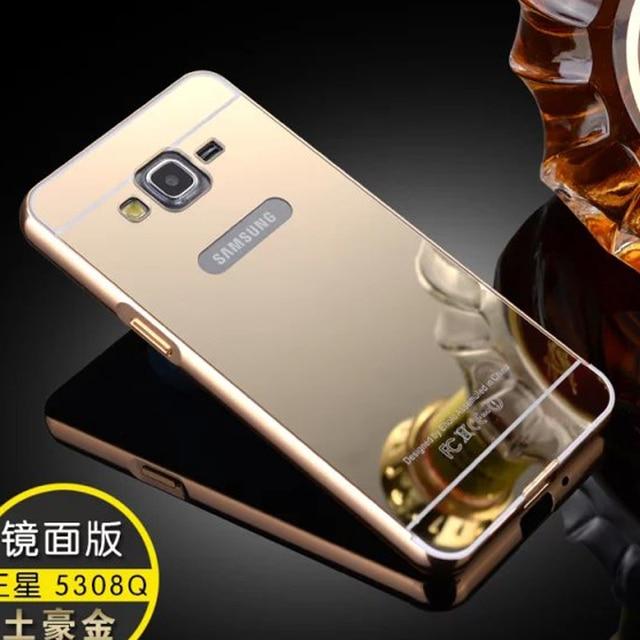 8cac1d49ffb Oro plateado marco de aluminio + espejo caso fundas coque cubierta carcasa  para samsung galaxy grand