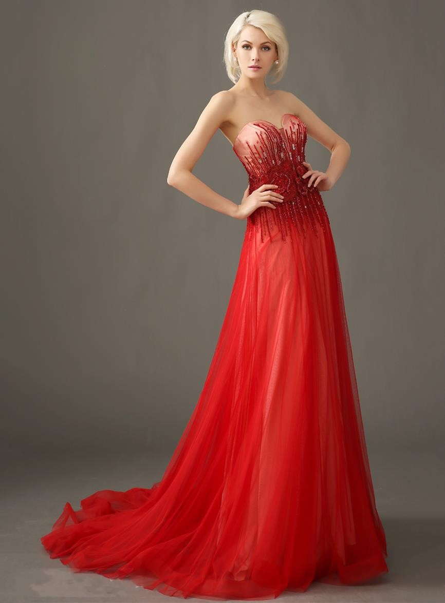 Роскошный пром возлюбленной бисером аппликации кружева-up длинные вечерние платья - Цвет: Красный