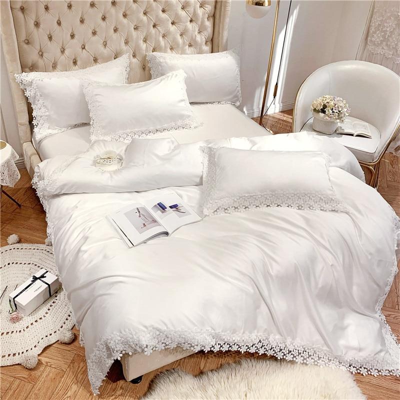 Super soft tencel Luxury white Bedding set King Queen size ...
