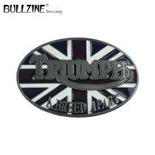 Bullzine toptan İNGILTERE bayrağı triumph kovboy sıcak satış kemer tokası kalay kaplama FP 02434 için uygun 4 cm genişlik snap kemer
