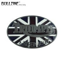 Bullzine wholesale UK flag triumph cowboy hot sale belt buckle with pewter finish FP 02434 suitable for 4cm width snap on belt
