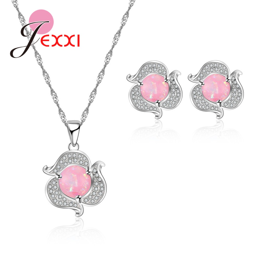 Lovely Pure Flower Shape Female Jewelry Sets 925 Sterling Silver Necklace Earrings For Girlfriend Lover Gift