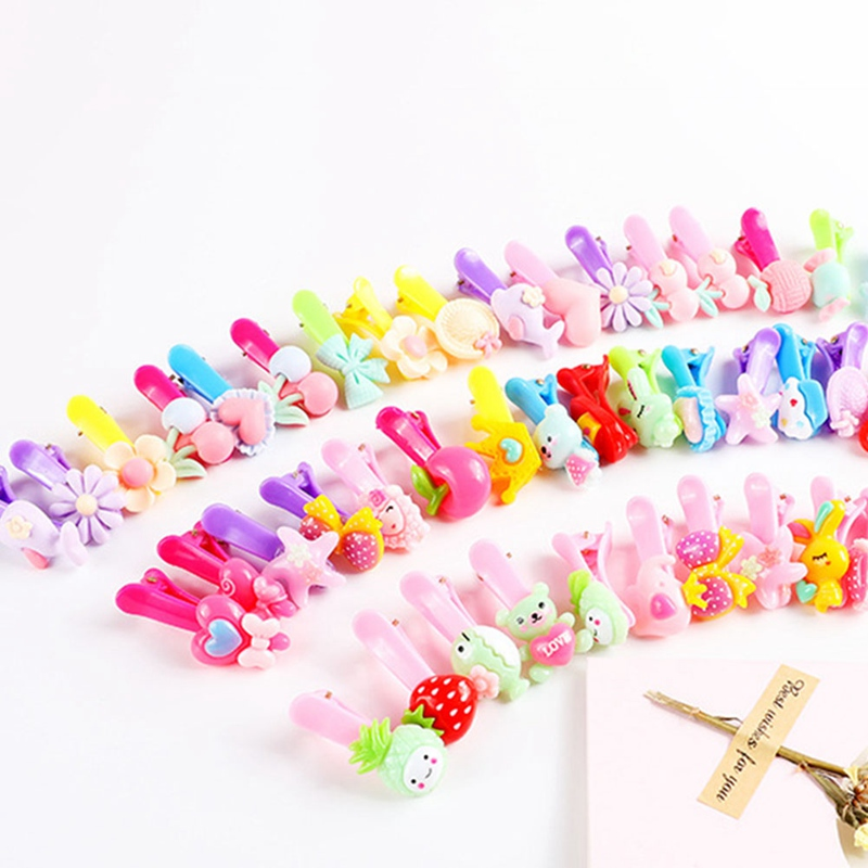 10PCS Mix Color Styles Flower Cartoon Hairpins Lovely Kids Girls 3 Cm Multicolor Hair Clip Hair Band Accessories(China)