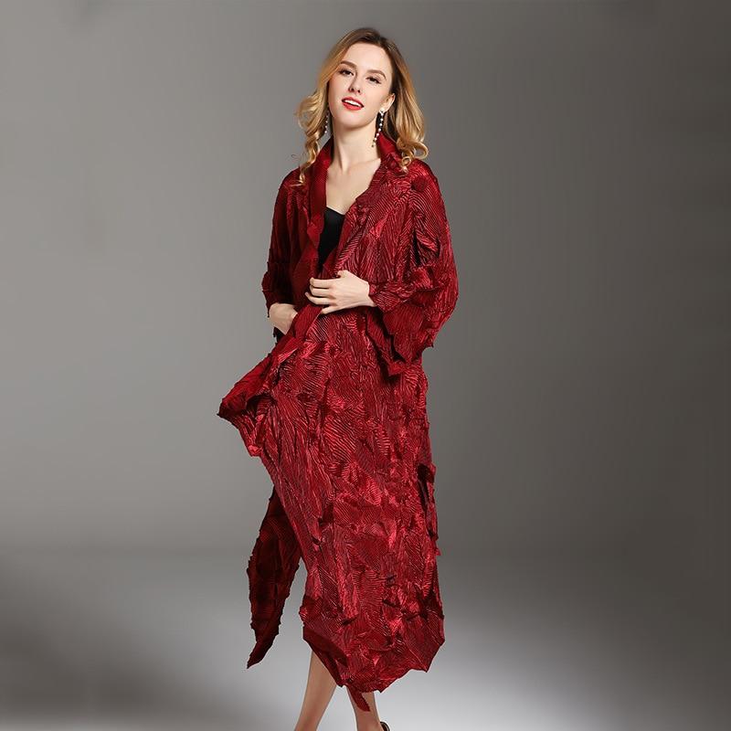 LANMREM 2018 New Fashion Velvet Irregular Dress Fashion Lady Temperament Large Size Pleated   Trench   Coat Female Vestido YG036