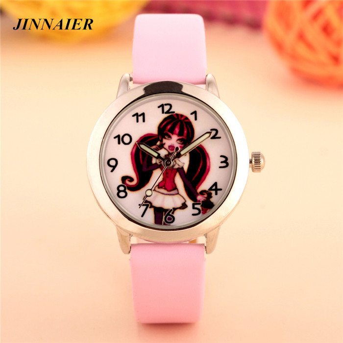 free shipping 10pcs/wholesales hot sales fashion 6colors cut 3D cartoon Long hair girl gifts quartz small leather wristwatch