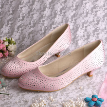 (20 Colors)Hot Sale Satin Pink Women Low Heels Pumps Autumn Spring with Rhinestones Dropshipping