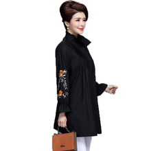 WAEOLSA Middle Aged Woman Casual Shirts Khaki Black Tops Women Flower Embroidery Blouses Office Lady Ruffle Collar Shirt Loose