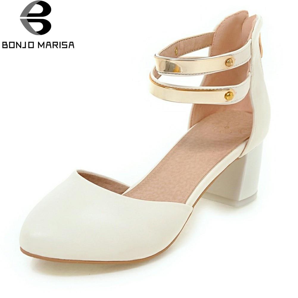 BONJOMARISA 2018 Summer New Elegant Cover Heels Sandals Women Metal Decorating Shoes Woman Big Size 31-43 Med Heels Footwear