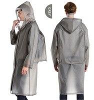 Long Raincoat EVA Thick Rainwear Universal Waterproof Hiking Tour Hooded Rain Coat Include Schoolbag Position