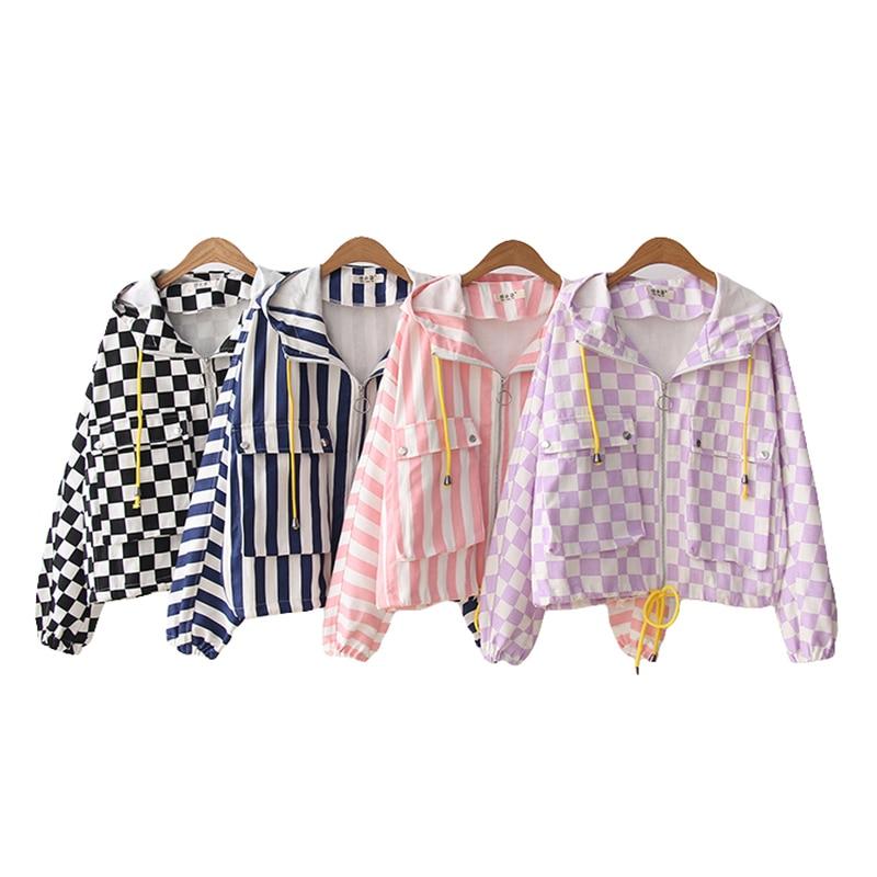 Fashion Striped   Jackets   For Women 2019 Spring Long Sleeve Hooded Coat Plaid   Jacket   Casual Sweet Harajuku Short   Basic     Jackets
