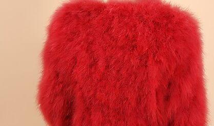 Новое поступление Винтажный стиль настоящий вязаный жилет из меха страуса жилет из натурального меха - Цвет: red