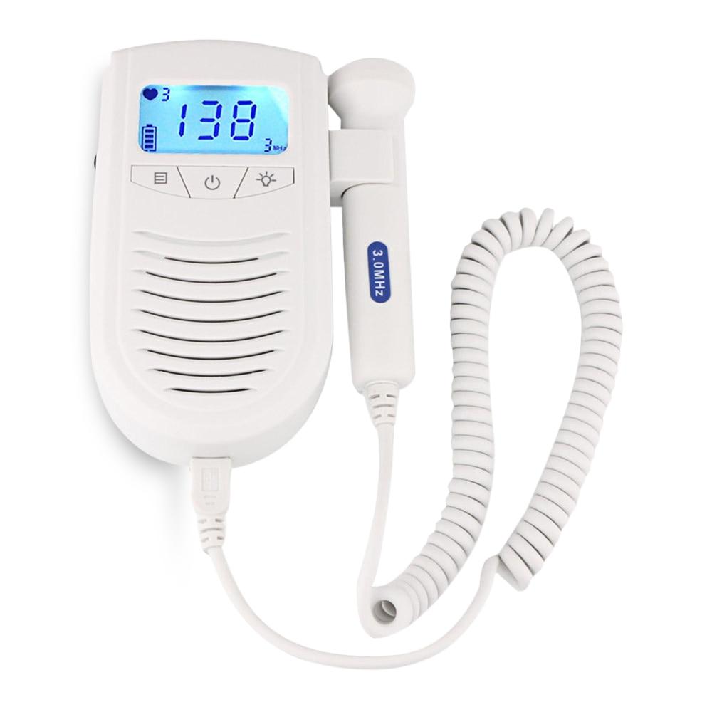 Gustala Portable Pregnant Women Back Light LCD Pocket Fetal Doppler Detector Baby Vascular Doppler Ultra-Sonografia Doppler portable handle bidirection vascular