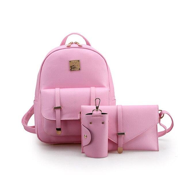 c5a2f6d5631 Rosa de cuero mochila Mujeres bolsa Pequeña escuela conjunto mochila para  Niñas Bolso Del Teléfono 3