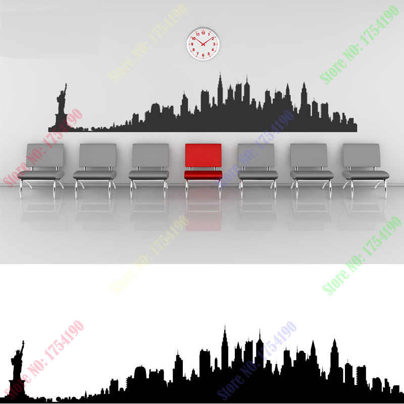 Le migliori occasioni per adesivi murali, stickers, trompe l'oeil. Adesivi Murali Skyline Di New York City Silhouette Edifici Decalcomanie Di Arte Murale Carta Da Parati Fai Da Te Per Decalcomania Della Stanza 73 14cm Wallpapers For Sticker Citycity Skyline Aliexpress