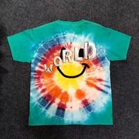 Hip hop TRAVIS SCOTT ASTROWORLD SMILEY Tie Dye Tee Men Women 1:1 Summer Style ASTROWORLD Embroidered letters t shirts