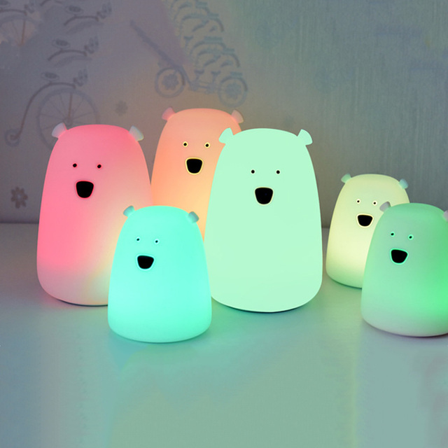 Colorful Bear Silicone LED Night Light Chargeable Battery Touch Sensor light 2 Modes Children Baby Kids Night Lamp Bedroom Light