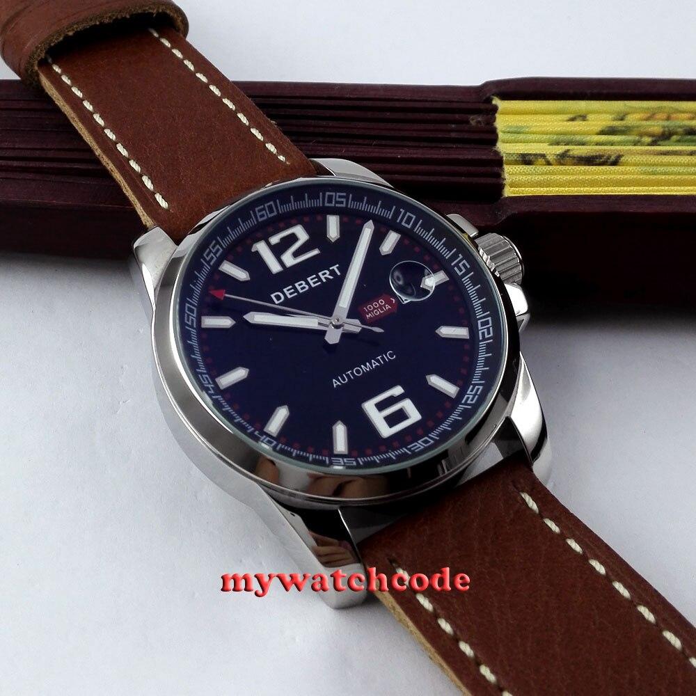 44mm Debert black dial data okno automatyczny ruch mężczyzna wrist watch D10 w Zegarki mechaniczne od Zegarki na  Grupa 3