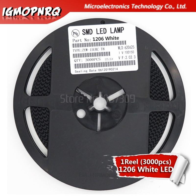 1reel 3000pcs White 1206 SMD LED Diodes Light