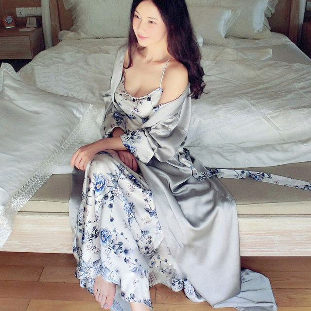 d7f876fa95 High-end Women Sexy Silk Satin Nightgown Luxury Sleepwear Female Nightwear  Plus Size Night Dress Home Wear Pajamas Long Robes