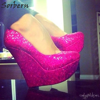 Sorbern Peach Sequins Glitter Women Pumps High Heels Platform Shoes Ladies Slip On Fancy Heels Footwear Woman Large Size Shoes