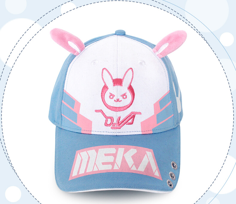 Christmas Gift Game OW D.va DVA Cosplay Baseball Cap Women Men Cartoon Rabbit Ear Embroidery Snapback Hat Casual Cap Adjustable