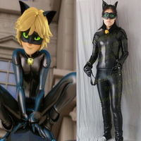 Linglong Custom Made Miraculous Ladybug Cosplay Costume Cat Noir Costume Adrien Cosplay Cat Noir Costume Elastic