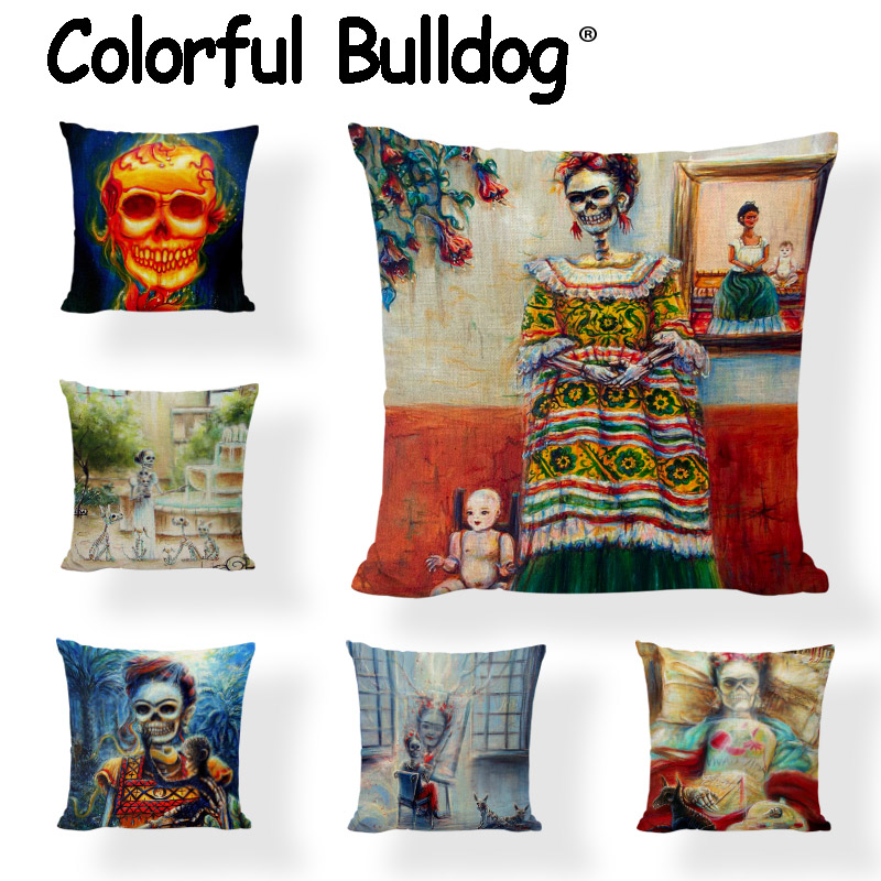 Personalized Sugar Skull Cushion Covers Dancing Women Flower Printed Throw Pillows Case  ...
