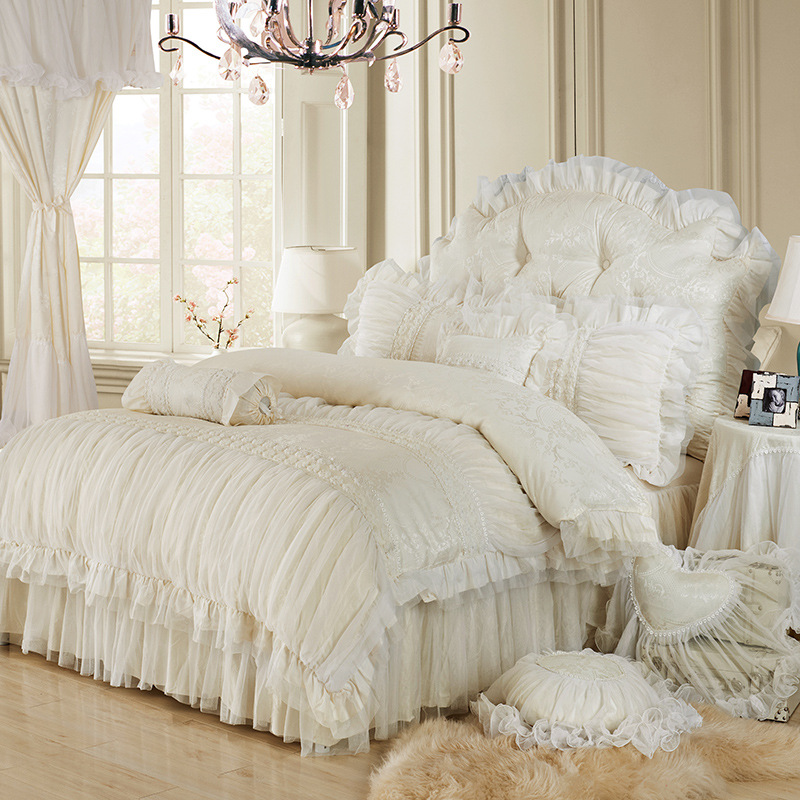 Luxury lace ruffle bedding set twin queen king cotton