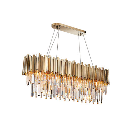 Lighting Modern Crystal Chandelier Luxury Oval Gold Hanging Light Fixtures Dining Room Suspension LED Lustres