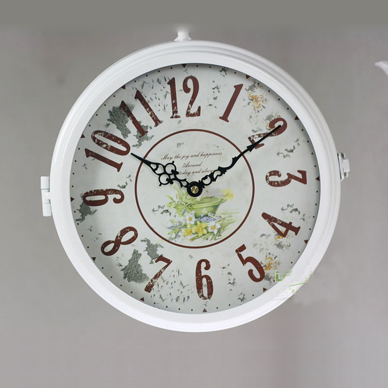 double sided wall clock watch vintage clocks saat relogio parede wrought iron wall clock metal horloge
